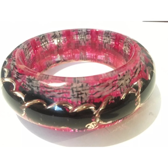CHANEL Jewelry - Chanel lucite chain tweed pink black bangle nwt